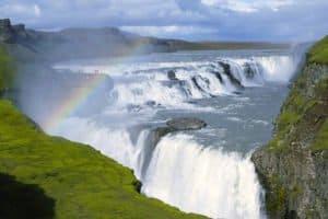Gullfoss waterfall is a part of the icelandic golden circle
