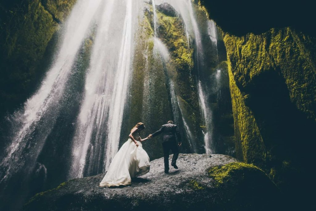 Gljúfrabúi waterfall, south iceland - wedding photo